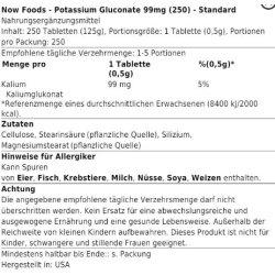 Now Foods - Potassium Gluconate 99mg 100 tab